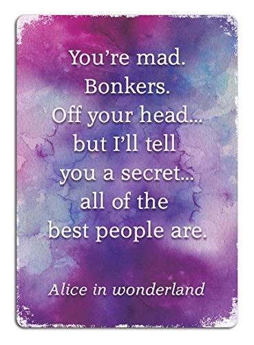 Toddrick Alice in Wonderland Quote Bonkers Watercolour Zinn schicke Zeichen Vintage-Stil Retro Küche Bar Pub Coffee Shop Dekor 8