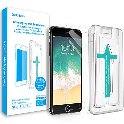 XeloTech Premium Schutzglas kompatibel mit iPhone 8/7 (2 Stück) mit Schablone für hohe Passgenauigkeit - Unterstützt 3D Touch (Note 3-bildschirm-ersatz Galaxy)