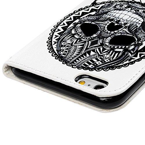 Badalink Hülle für iPhone 6 Plus / iPhone 6S Plus Buntes Verlaufsmuster Handyhülle Leder PU Case Cover Magnet Flip Case Schutzhülle Kartensteckplätzen und Ständer Handytasche mit Eingabestifte und Sta Skeleton Traumfänger