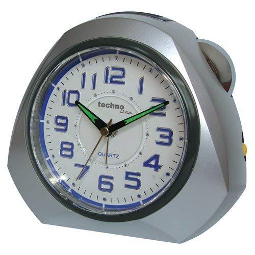 Technoline Quarzwecker Modell XXL, extra groß, schleichender Sekundenzeiger, Weckalarm mit Schlummerfunktion, beleuchtete Ziffern