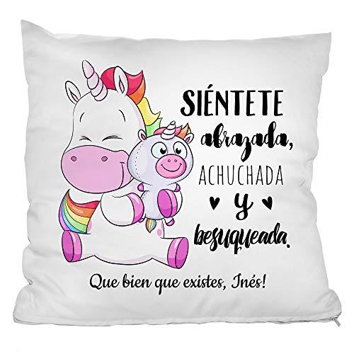 Personello Cojín de Unicornio Personalizado (con Nombre y Dicho), Regalo de Unicornio para la Mejor Amiga, Hermana o Hija, 40x40