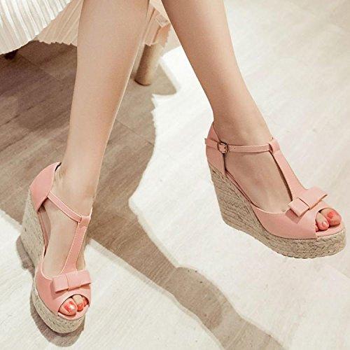 LvYuan Sandali estivi donna / ufficio & carriera / tacco ultra alto dell'alto tallone / piattaforma impermeabile / tacco del cuneo della biancheria / boccetta dell'inarcamento di punta-punta / scarpe  Pink