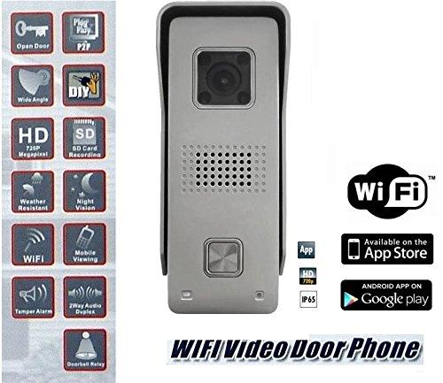 Video WLAN Türsprechanlage Türklingel Kamera WIFI DVA110DOOR Monacor Huanso - Türüberwachung - Doorbell Camera - Türöffner Funktion - Steuerung über Smartphone / Tablet - Android (z.B. Samsung Galaxy S7, S8) und IOS App - App (z.B. iPhone 6S 7 7Plus) - Nachtsicht-LEDs bis zu bis zu 2 Meter Sichtweite - IP65 Wettergeschütztes, robustes Gehäuse Samsung-kameras Wifi