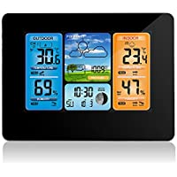 Wireless Weather Station Digital Color Forecast Weather Station Indoor Outdoor Thermometer with Alert and Temperature Humidity Barometer Alarm Moon Phase Weather Clock with Outdoor Sensor (Black)