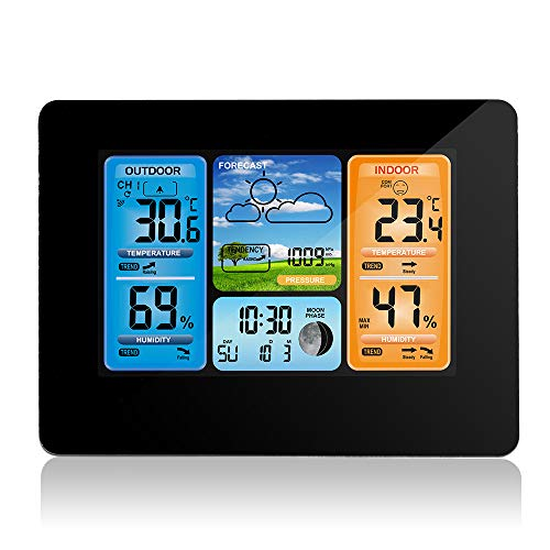 Stazione Meteo Wireless Digital Colour Forecast Stazione Meteo Indoor Outdoor Termometro con Allarme e Temperatura umidità Barometro Alarm Moon Phase Weather Clock con sensore Esterno (A)