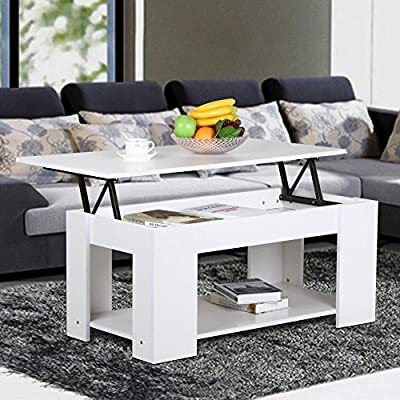 tinkertonk Modern Wood Lift Up Top Coffee Table with Lower Storage Shelf White - cheap UK light shop.
