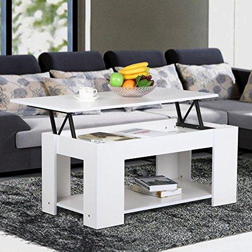 Table basse Tinkertonk - Partie supérieure soulevée - En bois moderne - Avec petite étagère de rangement blanche