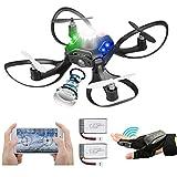 Mini Drone con Fotocamera, 2 Batterie Rilevamento Gesti del Sensore Manuale Controllo Wi-Fi Mantenimento Dell'altitudine Rotazione a 360 ° modalità Senza Testa