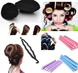 Homeoculture set of hair puff volumizer , hair roller, 10 fem rods and Curler