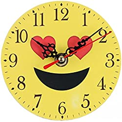 Reloj de Pared silencioso Digitales con números Romanos Emoticono Emoji para hogar y Oficina Sannysis Mecanismo Reloj de Pared Cocina Decorativo 3D Modernos de Madera Creativa 11cm (B)