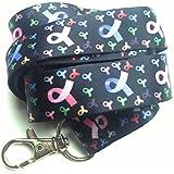 comprar 1GET 1FREE (tiempo limitado) spirius Fashion Multicolor Lanyard correa de cuello para ID Badge/titular de la clave UK, color Rainbow Cancer Logo in black