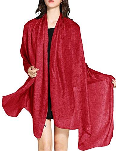 Wedtrend Hochwertig schlicht Flachs Stola Schal in verschiedenen Farben WTC30002 Red