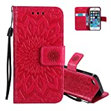 Aeeque Custodia i Phone 5 Portafoglio Rosso [Mandala Fiori Modello] Stile del Libro PU Pelle Morbido Silicone Interno Flip Smart Cover per iPhone 5/5S/SE (4.0 Pollici) Bumper Protettivo Rigida