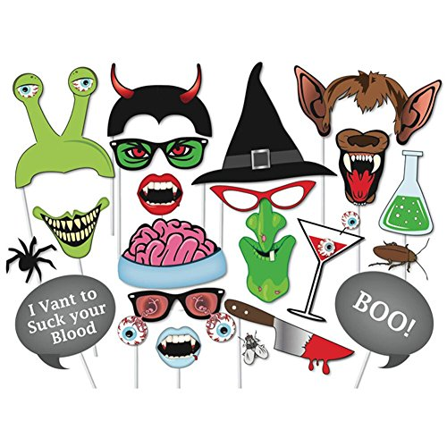 TOAOB 20 Stück Halloween Party Foto Fotorequisiten Fotoaccessoires Photo Booth Props Fotobox Accessoires Foto (Props Halloween)