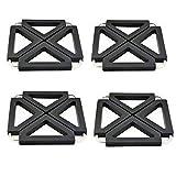Topflappen verstellbar klappbar für warmen Gerichten Untersetzer Silikon Metall Küche Tisch Tischmatten, schwarz, 4Stück
