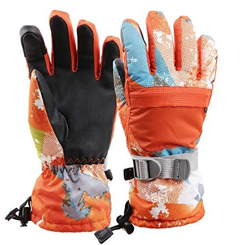 Snowboard 134cm (Arcweg Skihandschuhe Herren Winddicht Warm Handschuhe Winter Damen Kinder Rutschfest Verstellbar Winterhandschuhe Snowboardhandschuhe Fahrradhandschuhe Leicht Futterstoff ab 5 Jahre Orange S)