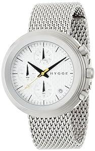 Hygge 2312Reloj unisex de cuarzo con cronógrafo, esfera blanca y plata pulsera de acero inoxidable msm2312C (CH) de Hygge