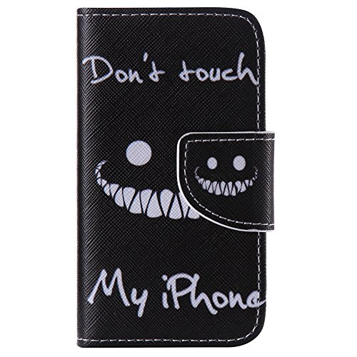 Nancen Apple iphone 4 / 4S (3,5 Zoll) Handy Lederhülle, Flip Case Wallet Cover with Stand Function, Folio Bookstyle Handytasche Soft Silikon Bunte Muster Tasche PU Leder Slim Shell Handyhülle. (Verizon Telefon Wasserdicht)