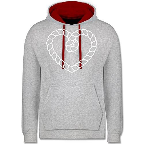 Romantisch - Tau Herz - Kontrast Hoodie Grau Meliert/Rot