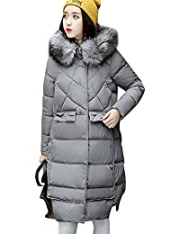 Abrigo de Outerwear Acolchado Algodón Invierno Para Mujer Largas Chaqueta de Esquí Parka Sombrero peludo Gris XS