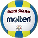 """""""Beach Master"""" Top Wettspielball, sehr weiches Synthetik-Leder, handgenäht - Farbe: Weiß/Blau/Gelb, Größe: 5"""