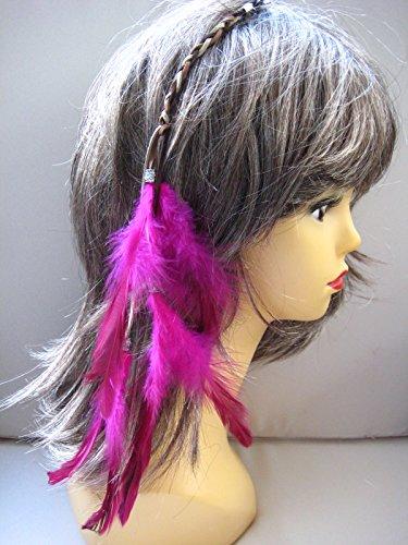 Haarschmuck Haarclip Haar Hair Extension Extensions mit Federn + Lederband (Hair Extensions Pink)