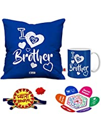 Indigifts I Love My Dear Bro Quote Printed Blue Coffee Mug And Cushion Cover 12X12 With Filler