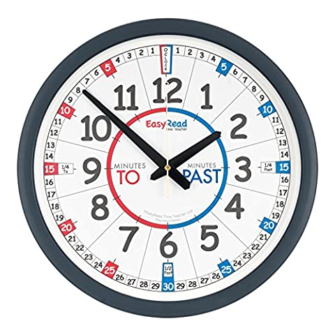 EasyRead Time Teacher Children's Classroom Wall Clock with simple 3-Step Teaching System, 35 cm dia, learn to tell the time , ages