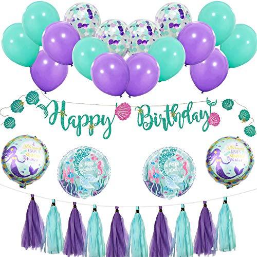Ohighing Meerjungfrau Geburtstag Dekoration Meerjungfrau Thema Party Dekoration Folienballons Meerjungfrau Happy Birthday Girlande Luftballons Lila und Blau Meerjungfrau Partyzubehör Baby Shower