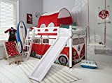 Noa and Nani Cabin Bed Midsleeper with Slide & Campervan Tent and Tunnel in White (Whitewashed)