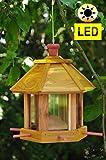 Futterhaus Vögel, ZedernHolz - MIT Beleuchtung,LED-Licht / Vogelhaus & Futterstation,wetterfest GELB, Zeder - Holz,BEL-gelb groß