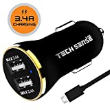 #9: Tech Sense Lab (Australia) CE & FCC Certified 3.4 Amp Dual Usb Car Charger, Compatible with all Mobiles & Tablets (Black N Gold)
