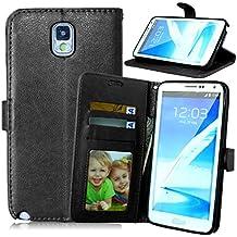 Qiaogle Teléfono Case - Funda de PU Cuero Billetera Clamshell Carcasa Cover para Samsung Galaxy Note3 SM-N9000 / SM-N9002 / SM-N9005 - DK02 / Negro Moda Elegante estilo
