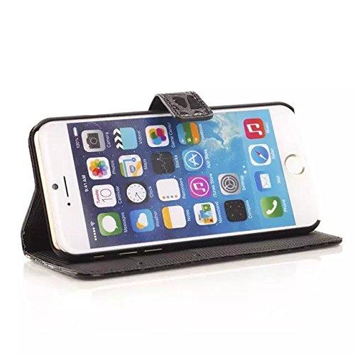 iPhone Case Cover Motif de crocodile surface cuir PU étui housse portefeuille stand pour iphone 6 6s ( Color : Black , Size : Iphone6 6s ) Black