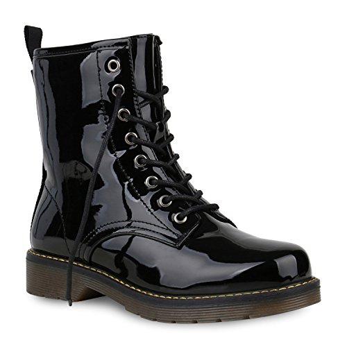 Damen Schuhe Worker Boots Stiefeletten Stiefel Lack Profil Sohle 153518 Schwarz Avion 39 Flandell