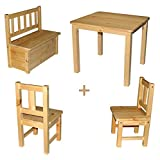 Rabando] - Kindersitzgruppe 1x Kindertisch mit 2X Kinderstühlen + 1x Kindersitzbank BZW. Kinderbank Holz
