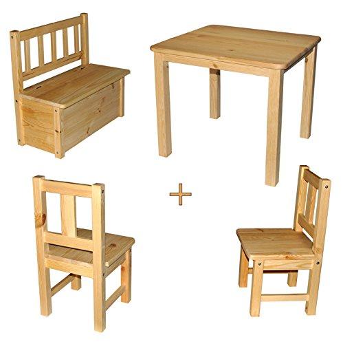 Best of JAM Ensemble bois bois massif de rabando® non-traité Klarlack Blanc laqué Avec Rangement pour enfants Banc 2 x Enfants Chaise enfants Table massif