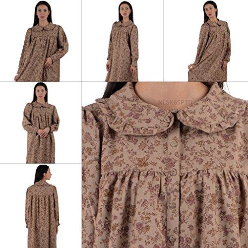 Cotton Lane - Chemise de nuit - Manches Longues - Femme Rose/Cream