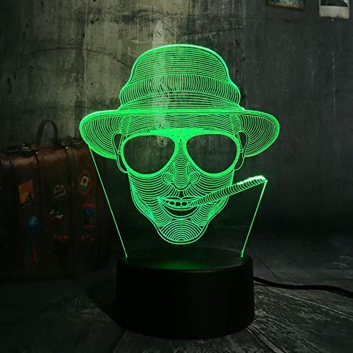 GBBCD Nachtlicht New Cool Smoking Mann Mit Brille Usb 3D Led Nachtlicht Remote Desk Lampe Beleuchtung Für Halloween Bar Dekorationen Geschenk Für Kinder