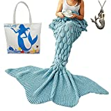 Ursky Handgefertigte Meerjungfrauendecke, gestrickt, Flossenform, für Erwachsene, Jugendliche und Kinder, Microfaser, Scale Fancy Tail Blue, 77