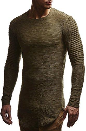 LEIF NELSON Herren Pullover Rundhals-Ausschnitt | Schwarzer Männer Longsleeve | dünner Pulli Sweatshirt Langarmshirt Crew Neck | Jungen Hoodie T-Shirt Langarm Oversize | LN6326 Khaki Medium