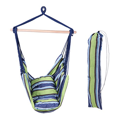 Große Deluxe brasilianisches Hängematte Stuhl Kit Seil zum Aufhängen Swing–245x 45cm Kissen–Aufbewahrungstasche–Stahl Haken–keine Hängematte Ständer erforderlich (Tragbare Hängematte Xl)