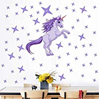 BUCKOO Purple Unicorn Wall Art Decal,Dazzling Purple Stars Wall Sticker,Nursery Cartoon 3D Art Decal Sticker Child Room Wall Decoration