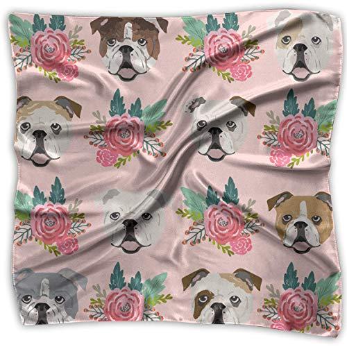 Seidiges Bandana-Set mit englischen Bulldoggen und Blumen, für Herren und Damen, Pink (Jungen Bandana-outfit Für)