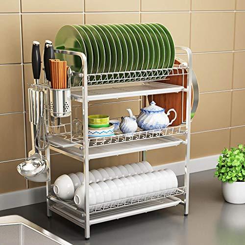 LUYIASI- 3-Tier-Edelstahl-Abtropfgestell-Küchen-Abfluss-Gestell-Haushalts-Geschirr-Speicher-Regal mit 3 kostenlosen Wasserbehältern Shelf
