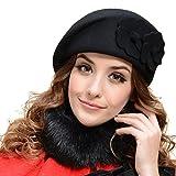 TININNA Französisch Damen Baskenmütze Blumen Bucket Wolle Felt Barett Mütze Beret Mütze Wollmütze Damenmütze schwarz
