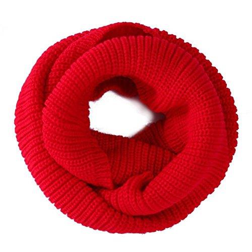 ULTNICE Herrn Damen Warme Lange Loop Schal Winter Strickschal Halstuch (rot)