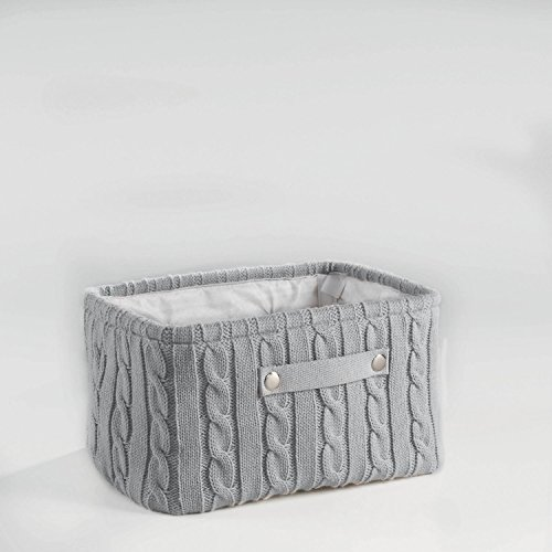 Aufbewahrungskorb Korb Strick 38x26x20 Grau, Rosa oder Weiss, Farbe:Grau