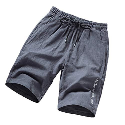POIUDE Herren Shorts Bermuda Kurze Hose Mit Kordel Lockerem Strand Lässige Shorts Regular Fit Druck der Männer(Grau, XXXXL)