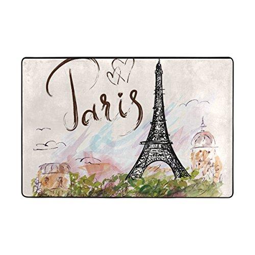 Ingbags Tour Eiffel Salon salle à manger Zone Rugs 3 x 2 pieds Chambre Rugs Bureau Tapis moderne Tapis de sol Tapis Home Decor, multicolore, 3 x 2 Feet